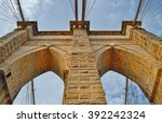 view of the brooklyn bridge... | Shutterstock . vector #392242324