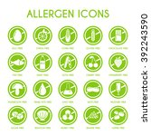 allergen icons vector set | Shutterstock .eps vector #392243590