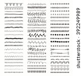 set of hand drawn black doodle... | Shutterstock .eps vector #392249989