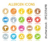 allergen icons vector set | Shutterstock .eps vector #392255698