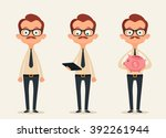 funny office workers. vector set | Shutterstock .eps vector #392261944
