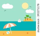 cartoon cute summer landscape... | Shutterstock .eps vector #392271178