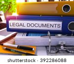 blue office folder with... | Shutterstock . vector #392286088