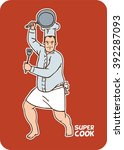 image sticker comical cook no... | Shutterstock .eps vector #392287093