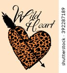 leopard pattern and heart arrow | Shutterstock .eps vector #392287189