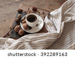 a cup of hot coffee and themed... | Shutterstock . vector #392289163