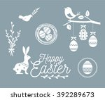happy easter template  icons ...