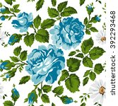 floral pattern with roses.... | Shutterstock .eps vector #392293468