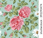 floral pattern with pink roses. ... | Shutterstock .eps vector #392293474