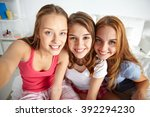 friendship  people  pajama... | Shutterstock . vector #392294230