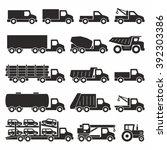 trucks icons set | Shutterstock .eps vector #392303386