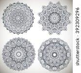 set of mandalas coloring... | Shutterstock .eps vector #392309296