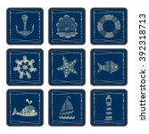icon set with a nautical theme  ... | Shutterstock .eps vector #392318713