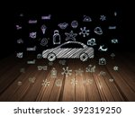 vacation concept  car in grunge ... | Shutterstock . vector #392319250