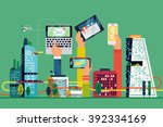 cool smart city flat... | Shutterstock .eps vector #392334169