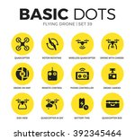 flying drone flat icons set... | Shutterstock .eps vector #392345464