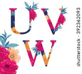 vintage flower alphabet. hand... | Shutterstock .eps vector #392362093