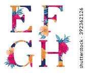 vintage flower alphabet. hand... | Shutterstock .eps vector #392362126