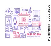 vector set of first aid kit box ... | Shutterstock .eps vector #392365108