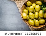 fresh olives and gray... | Shutterstock . vector #392366938