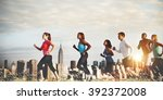 team running marathon healthy... | Shutterstock . vector #392372008
