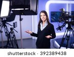 television presenter recording... | Shutterstock . vector #392389438