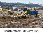 heavy construction machinery... | Shutterstock . vector #392395654