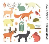 set of forest animals made in... | Shutterstock .eps vector #392397790