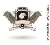 bald eagle head on shield. with ... | Shutterstock . vector #392431813