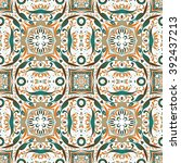 mexican stylized talavera tiles ... | Shutterstock .eps vector #392437213