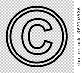 copyright sign. line icon on... | Shutterstock .eps vector #392458936