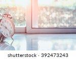alarm clock with blured... | Shutterstock . vector #392473243