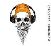skull with beard  mustache in... | Shutterstock .eps vector #392477674