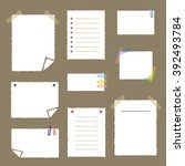 collection of white note papers ... | Shutterstock .eps vector #392493784