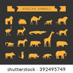 Stock vector vector set of silhouettes of african animals vector silhouette of lion leopard monkey and 392495749