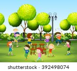 children playing music chair in ... | Shutterstock .eps vector #392498074