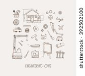 engineering hand drawn vector... | Shutterstock .eps vector #392502100
