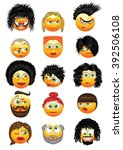 set of emoticons with hairstyles | Shutterstock .eps vector #392506108