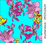 neon color floral seamless... | Shutterstock .eps vector #392512624