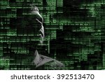 hacker silhouette  with graphic ... | Shutterstock . vector #392513470
