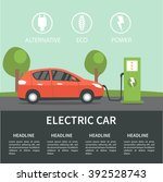 electric car flat infographic... | Shutterstock .eps vector #392528743