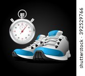 pair of running shoes and... | Shutterstock .eps vector #392529766
