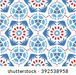 intricate white blue red floral ... | Shutterstock .eps vector #392538958