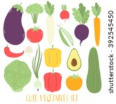 big set with cute vegetables on ... | Shutterstock .eps vector #392545450