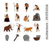 prehistoric stone age icons set ... | Shutterstock .eps vector #392551018