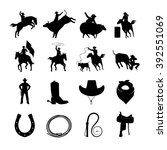 rodeo black icons with cowboys...   Shutterstock .eps vector #392551069