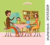 family having meal in the... | Shutterstock .eps vector #392552839