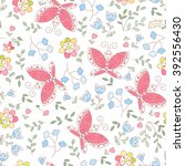 vector butterfly and flowers... | Shutterstock .eps vector #392556430