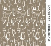 hand drawn pattern of alcohol... | Shutterstock .eps vector #392557204