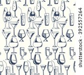 hand drawn pattern of alcohol... | Shutterstock .eps vector #392557264